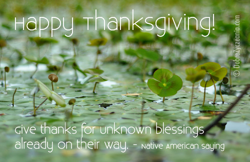 Give thanks for unknown blessings...